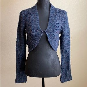 NWT It's Our Time Blue Knitted Long Sleeve Shrug
